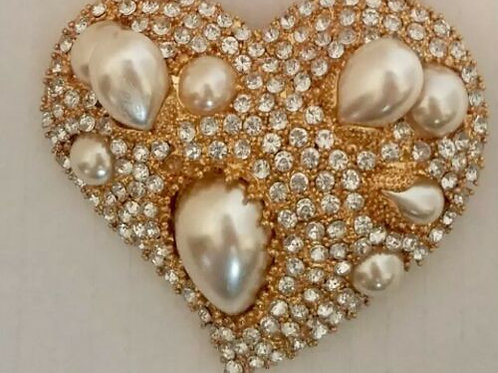 Vintage Scaasi Heart Pin Simulated Pearls