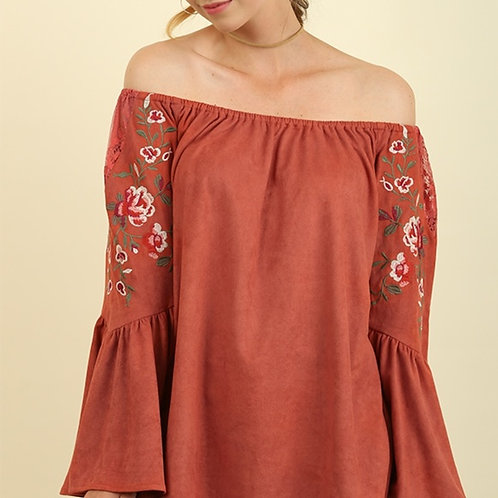 NEW Umgee Clay/Rust Faux Suede Embroidered Off The Shoulder Blouse M Bell Sleeve