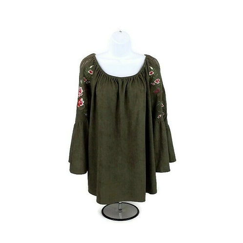 NEW Umgee Green Faux Suede Embroidered Off The Shoulder Blouse MBell Sleeve