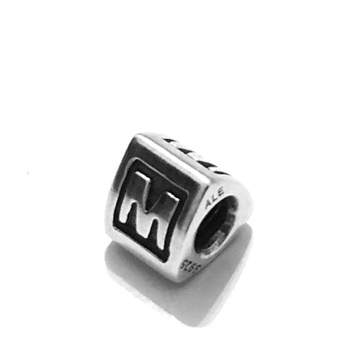 Authentic PANDORA Sterling Silver Alphabet Letter Initial M Bead Charm