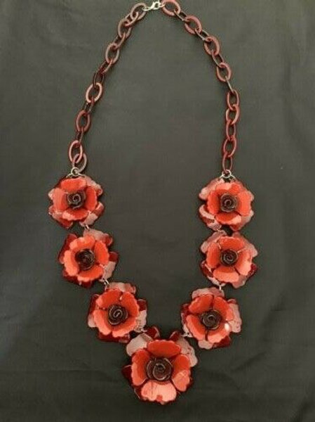 "Gorgeous Vintage Poppy Necklace 36""  Poppies"