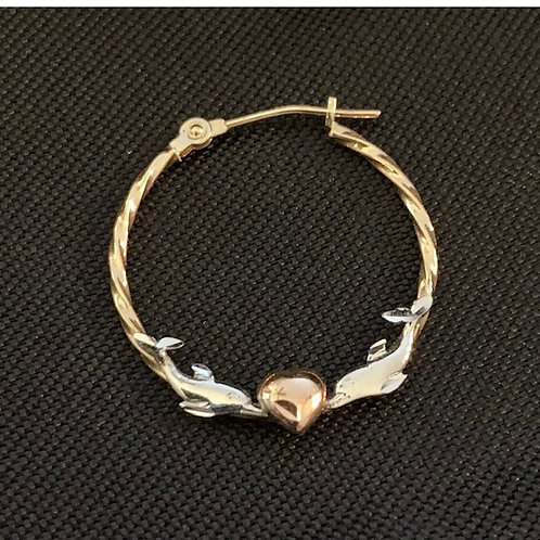 Everlasting Gold 10k Tri-Color Hoop Dolphin Earrings