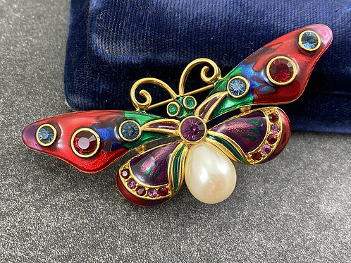 Joan Rivers Jeweled Rainbow Butterfly Pin Pearl Brooch Signed NEW