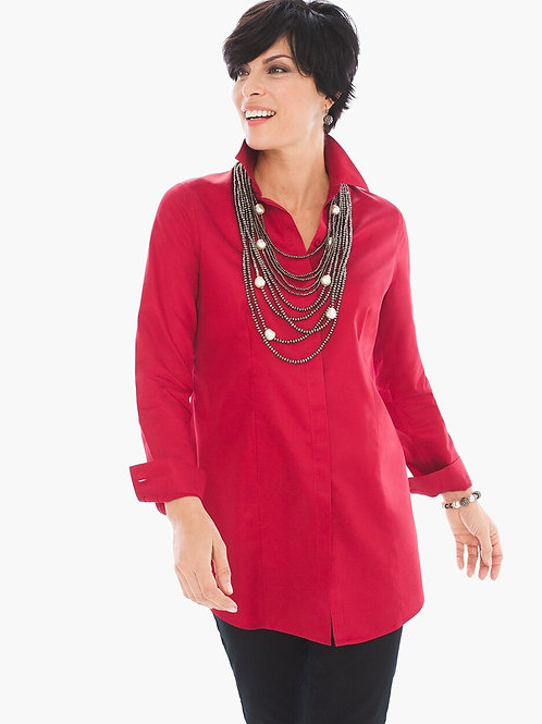 CHICO's NWT Sz 3.5 L/S Iron-Free Top Renaissance Red