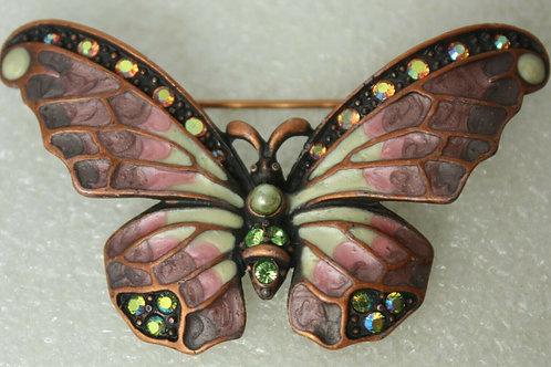 JOAN RIVERS Signed Enamel Rhinestones Victorian Butterfly Brooch Pin NEW in Box
