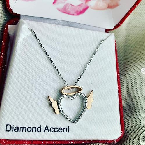 Diamond Accent 925 Silver Heart w/Wings