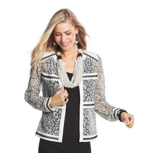 CHICO's Sz 2 NWT Jacket Two Toned Lace White/Black