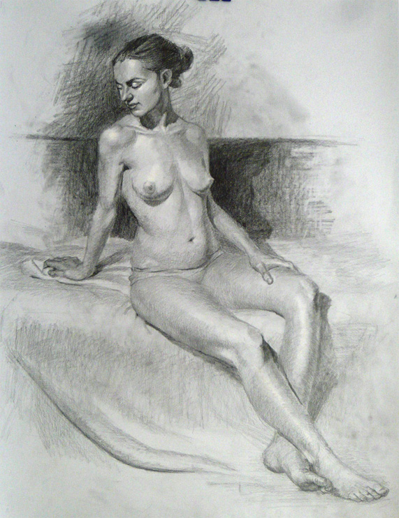 Pencil life drawing, Dalia