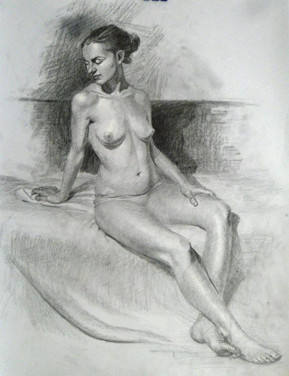 Pencil life drawing, Dalia