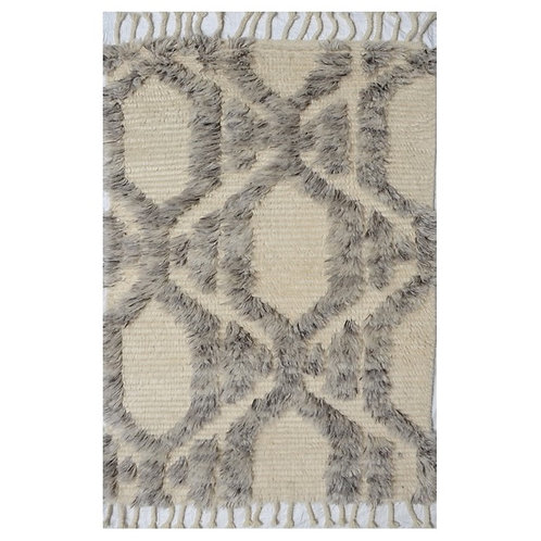BOHO CHIC NATURAL GREY MOROCCAN WOOL RUG