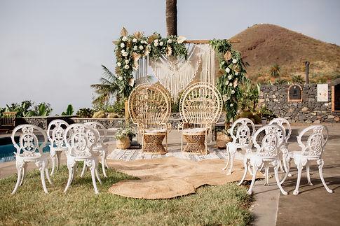 Boho Wedding arch at Tenerife wedding, Licandro Weddings, finca weddings in tenerife