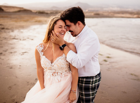 A post wedding photoshoot on a beautiful beach in Tenerife