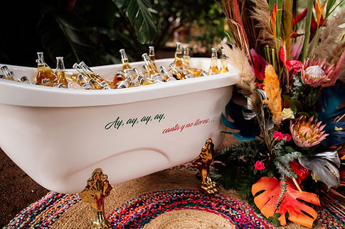 Licandro Weddings, Festival Style Wedding in a finca in tenerife, bathtub of beer