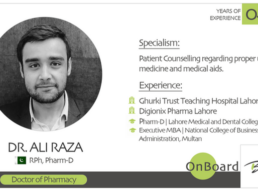 OnBoard | Dr. Ali Raza | Doctor of Pharmacy.