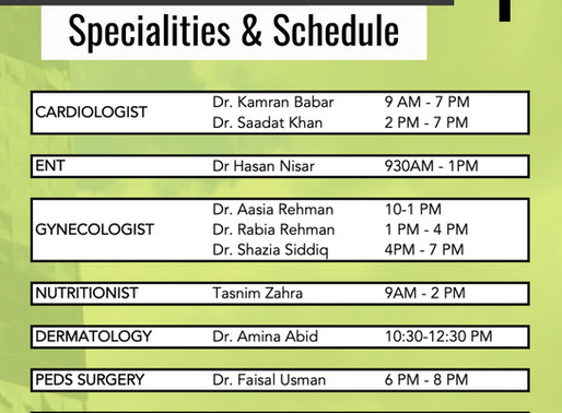 Free Medical Camp | Sep 2020 | Schedule