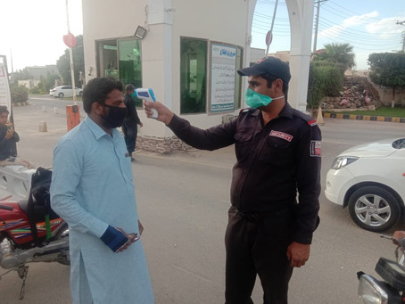 Precautions being taken at Buch Executive Villas Multan.