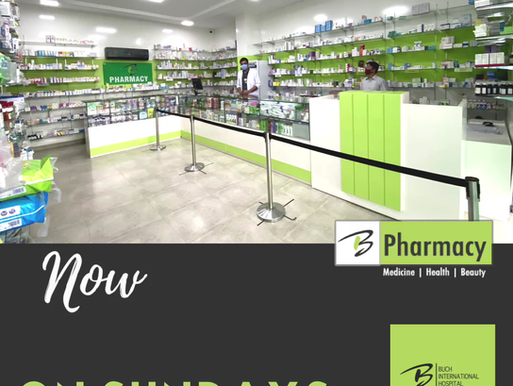 Buch Pharmacy Now Open on Sundays (12 PM - 11 PM)
