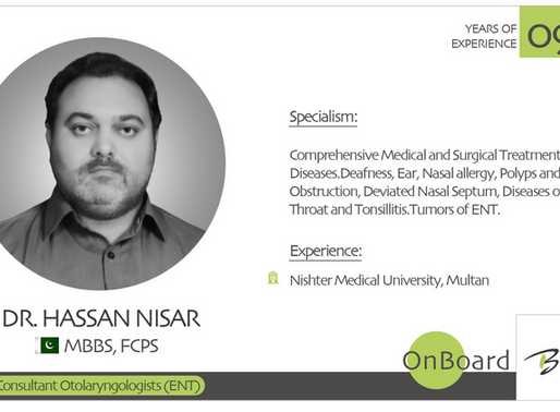 OnBoard | Dr. Hassan Nisar | Consultant Otolaryngologists (ENT) .