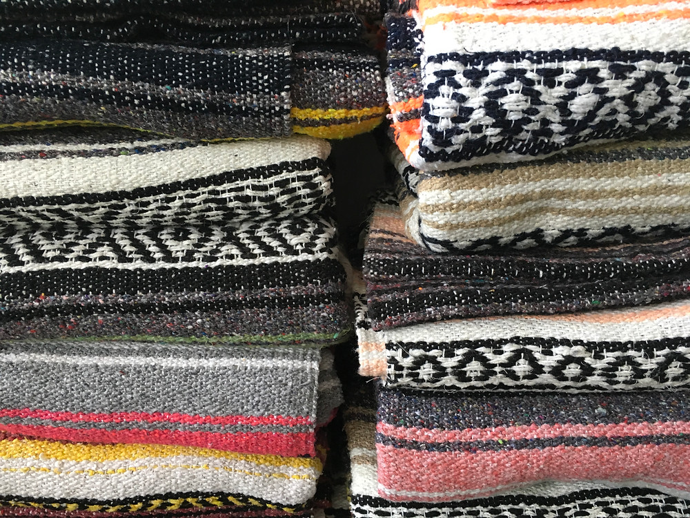 stacked yoga blankets