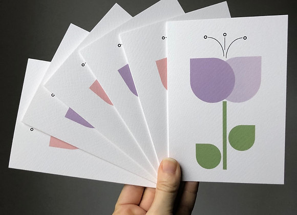 Notecard Set - Pink/Purple Tulips (6 cards mixed designs)