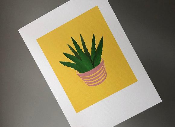 Aloe Vera on Yellow A4 Art Print