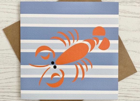 Greeting Card - Blue Stripe Lobster