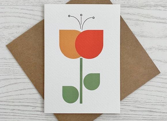 Portrait Notecard - Orange Tulip