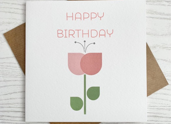 Greeting Card - Happy Birthday Pink Tulip