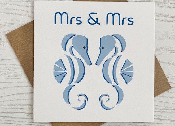 Greeting Card - Mrs & Mrs Seahorse