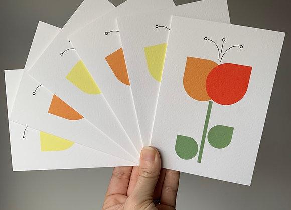 Notecard Set - Orange/Yellow Tulips (6 cards mixed designs)