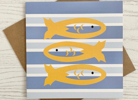 Greeting Card - Blue Stripe Fish