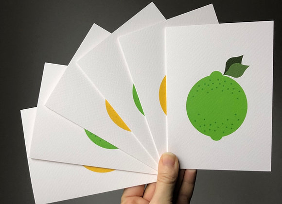 Notecard Set - Lemon and Lime (6 cards mixed designs)