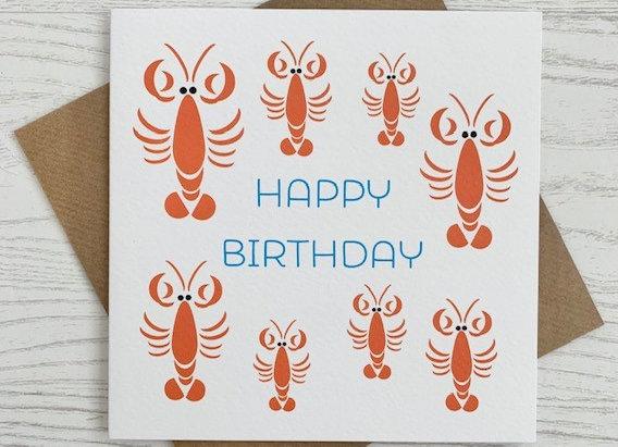 Greeting Card - Happy Birthday Lobster