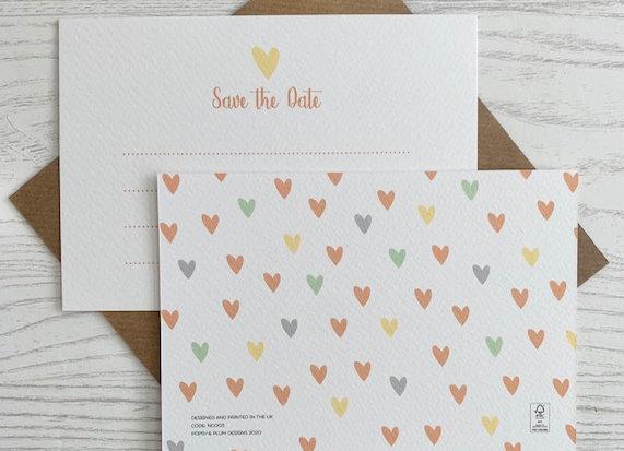 Flat Card Set - 'Save The Date' set of 6 same design cards