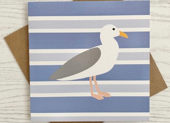 Greeting Card - Blue Stripe Seagull