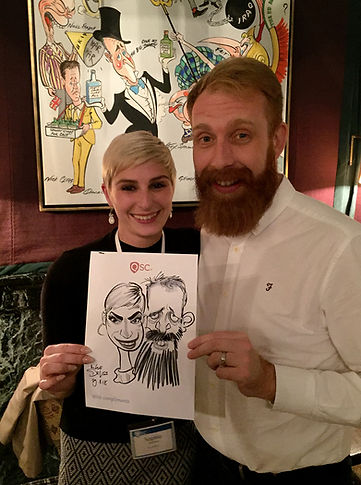 Caricature entertainment at london corporate dinner party