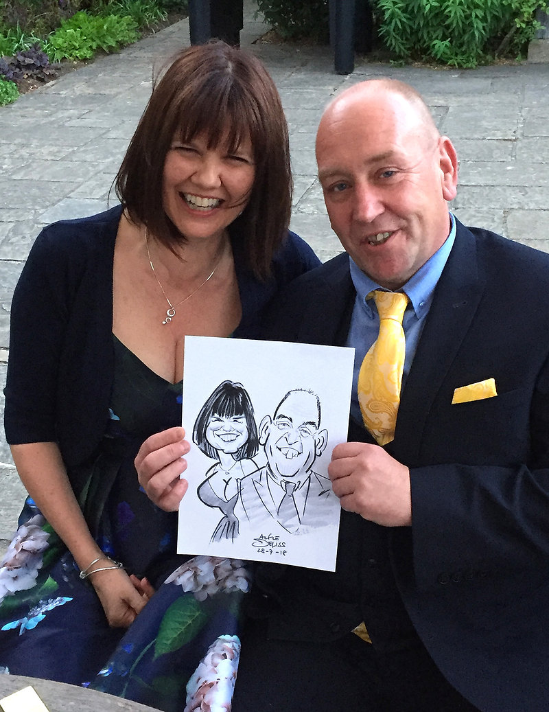 Surrey wedding entertainment by London party caricaturist