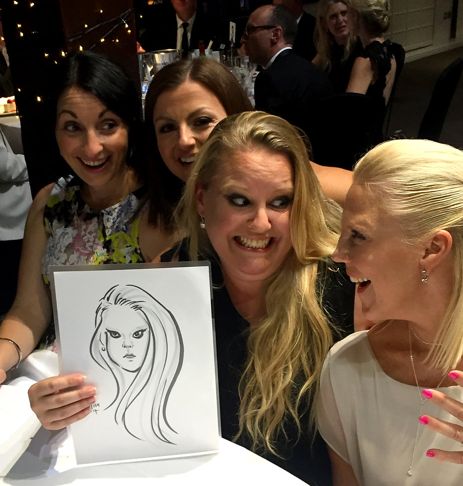 sketchum caricature at london party
