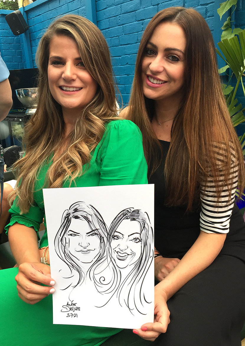 Party caricatures in west London