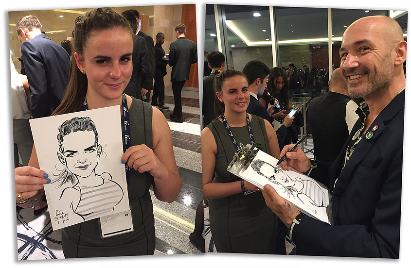 London Caricaturist Alfie Deliss at a Corporate Mix'n'Meet Drinks Networking Event