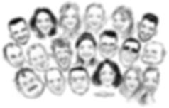 corporate group caricature gift in london