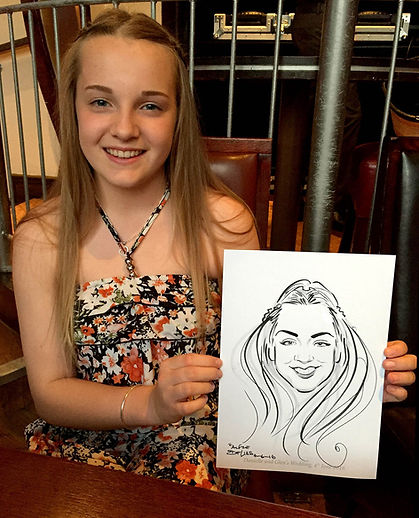 Wedding party entertainment with caricatures in Essex