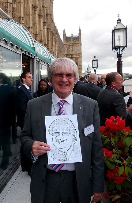 Corporate party entertainment with caricatures at the Houses of Parliament, London