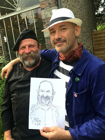 Dick Strawbridge and CaricaturistAlfie Deliss