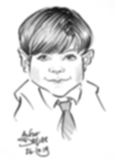 caricature of a child at a wedding