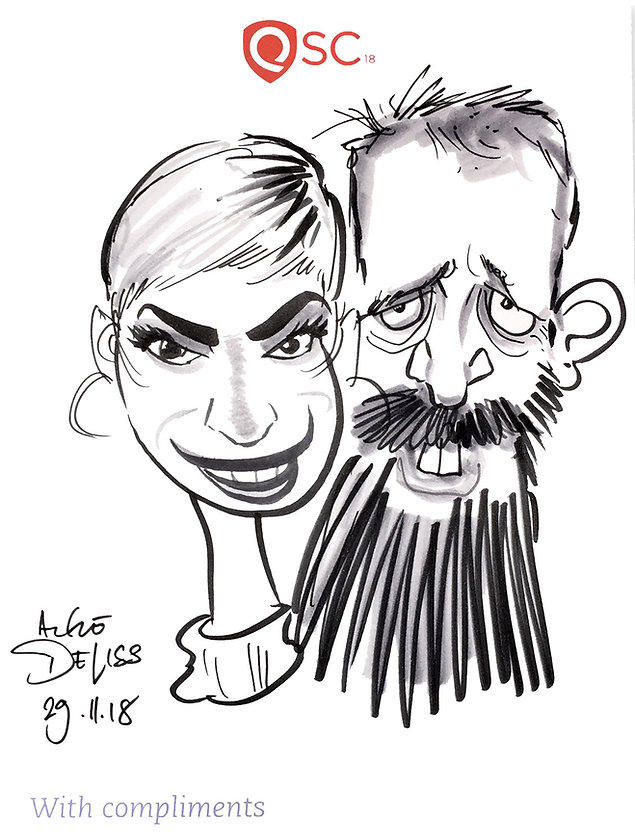 dinner party caricatures and entertainment in central London
