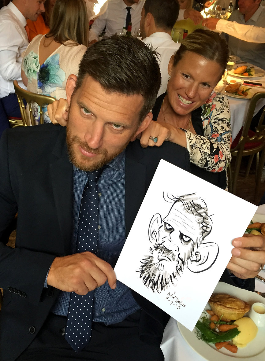 Wedding dinner entertainment with party caricatures in Surrey