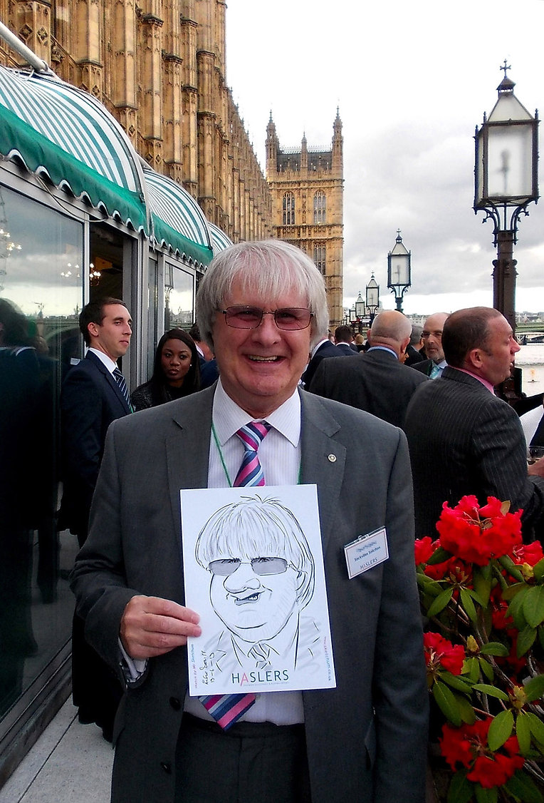 Corporate entertainment by caricaturist at the Palace of Westminster in central London