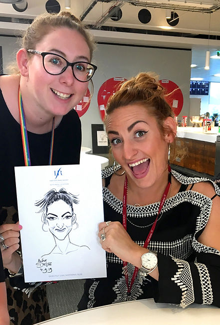 Caricatures and entertainment at a Virgin Holidays corporate office party
