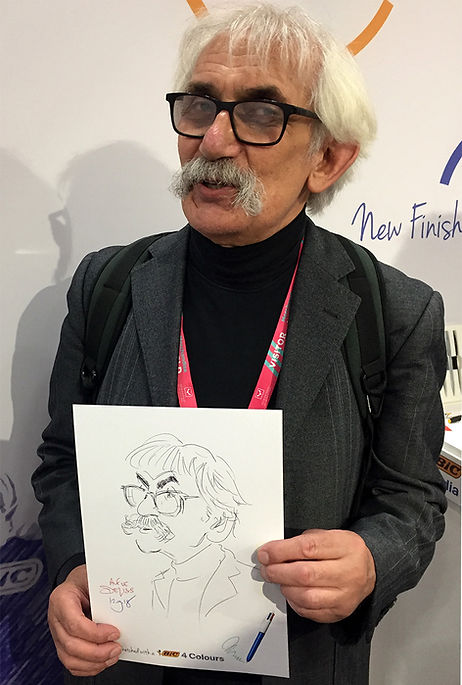 Party caricature of a corporate expo attendee